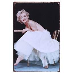 Wholesale House Signs Plaques - Monroe in White Dress Vintage Tin Signs 20X30CM Metal Iron Plate House Wall Decor Tin Plaques Cafe Club Home Office Lounge Bar