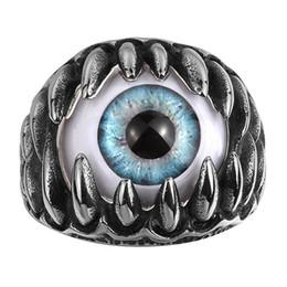 2019 böse augencharme ring Vintage Punk Titan Stahl Ring Gothic Dragon Claw Evil Eye Charms Erklärung Schmuck Edelstahl Herren Ringe rabatt böse augencharme ring