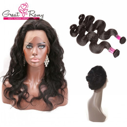 Wholesale Closure Wigs - 360 Lace Frontal 22*4*2 Body Wave Brazilian Hair Weave Closure 2pcs Adjustable Full Lace Human Hair Wigs Greatremy Free Part Middle 3 Part