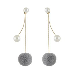 Wholesale Pearl Drop Earrings White Gold - Newest Fashion Jewelry Pearl Stud with Gold Long Chain Pompon Pendant and Pearls Charms Drop Earrings for Women