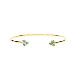 Wholesale Unique Jewlery - rose gold 18k gold pave turquoise stone triangle unique fashion classic jewlery open cuff bangle for women fashion jewelry