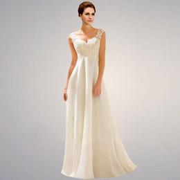 Robed mariage empire on-line-Robe De Mariage Com Decote Em V Applique Lace Sexy Vestido De Noiva Império Grávida Vestido De Noiva Mariage US2 4 6 8 10 12 14 16