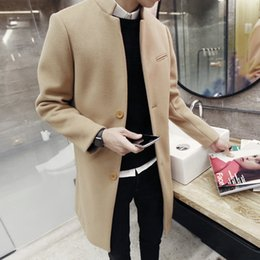 Wholesale Man Long Trench Coat - Wholesale- 2016 spring autumn winter fashion new men leisure slim trench coat   Men's long sleeve stand collar pure color wool dust coat