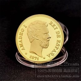 Wholesale Spanish Arts - 1871 Spain Gold Plated Coins Spanish 100 Pesetas AMADEO I and Espana Commemorative coin
