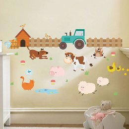 Wholesale Farm Stickers - Hot Cartoon Farm Cow Art Decal Home DIY Decoration Wall Mural Removable Bedroom Decor Kids Wall Stickers