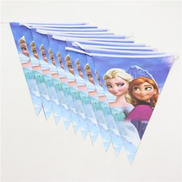 Wholesale Princess Party Theme Decorations - Wholesale- 1set=10pc Lovely Princess Theme Paper Flag For Girl Kid Happy Birthday Party Event Party Baby Shower Banners Decoration Supplies