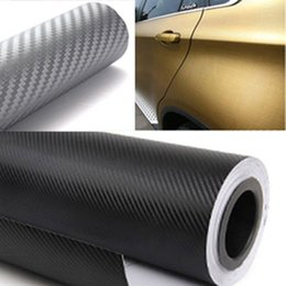 Wholesale 3m Vinyl Rolls - 50cm wide 3D Carbon Fiber Vinyl Film 3M Car Stickers Waterproof DIY Auto Vehicle Motorcycle Car Styling Wrap Roll Car Styling