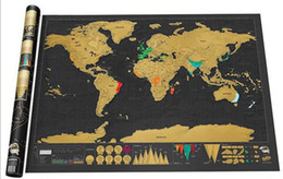 Wholesale Maps Gifts - Deluxe Scratch World Map 82.5x59.4cm Black Background Foil Cover With Delicate Cylinder Packaging Creative DIY Gift Education Learning Toys