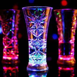 Wholesale Neon Crosses - 2017 Colorful Led Cup Flashing Shot Glass Led Plastic Luminous Neon Cup Birthday Party Night Bar Wedding Beverage Wine flash cup OTH406