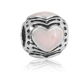 Wholesale Heart Transfers - Fits Pandora Charm Bracelet Pink Heart Lucky Transfer Beads Sterling Silver Dangle DIY Handmade Jewelry For Chamilia European Women Charms