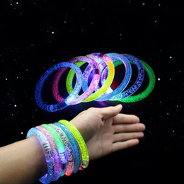 Wholesale Disco Flash Led Light - Acrylic LED bracelet light flashing bracelet flashing crystal bracelet glowing toys for party disco Christmas holy gift