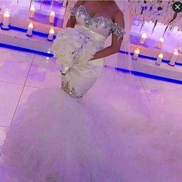 Wholesale Elegant Beaded Satin Wedding Dress - Elegant Beaded Mermaid Wedding Gowns Off The Shoulder Crystals Sequins Satin and Tulle Beach Bridal Dress Custom Made Vintage Wedding Gowns