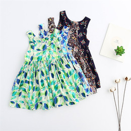 Wholesale Tutu Skirts For Girls Sales - Girls Flower Dresses Hot Sale Printed Leaf 2017 New Summer Baby Gilrs Skirt Children Flower Sleeveless Cotton Dresses For 3Y-8Y