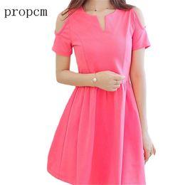 cute korean dresses pink Coupons - 2017 New Fashion Women Dress Summer  Short Sleeve Mini Cute 817a08c8ba6c