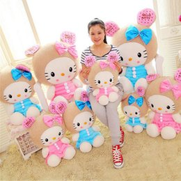 ciao bambola di peluche del gattino Sconti Big Soft 100 cm Peluche Hello Kitty Cat Toy Giant Lovely farcito Hello Kitty Toys Doll Compleanno Xmas Gift Pink Blue