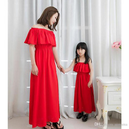 Wholesale Clad Tube - Family Matching Outfits Red Chiffon Dress Bohemia Tube Top Long Dress Mother And Daughter Clothes Dresses Vacation Family Matching Outfits