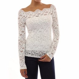 Wholesale Crochet Tops Sexy - Sexy Off Shoulder Lace Crochet Blouse Shirt 2017 Women Long Sleeve Casual Chiffon Tunic Shirt Top Blusas Femininas Camisas Mujer