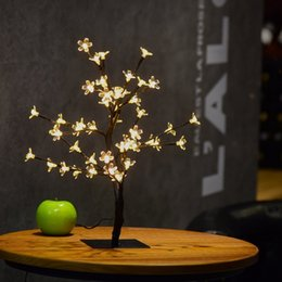 Wholesale Lamps Led Party - Crystal Cherry Blossom 48 LEDs Tree Light Night Lights Table Lamp 45cm Black Branches Lighting Christmas Party Wedding LED Flowers Lights
