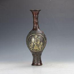 Jarrón de la riqueza online-Chino antiguo Bronce Gilt trabajo hecho a mano El Dios de la riqueza Motif Jarrón C404