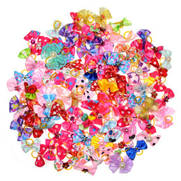 Wholesale Diamond Pearl Hair - wholesale New 100 50 lot Dog Grooming Bows Diamond Pearls Style pet hair bows dog hair accessories pet shop dog acessories