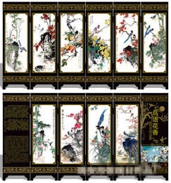 Wholesale Handicraft Fan - Chinese Lacquer Vintage Art Classical Handwork Painting Blooming Flowers Auspicious Screen Decor Handicraft Business Gifts Foreigner fan