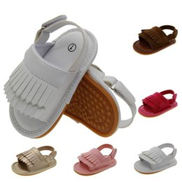 Wholesale Toddler Boys Leather White Sandals - Fashion baby girl boy Fringed leather moccasins sandals First Walker Shoes kids toddler tassel non slip shoes 3M-18M 5colors 008#