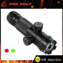 Wholesale Laser Light Rifle - FIRE WOLF Tactical Adjust Red Dot Laser Sight Rifle Scope With 2 Mounts Picatinny Weaver Rails Hunting Scopes Air Soft