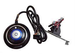 Wholesale Reset Lights - Wholesale- PC Desktop Power Reset Switch Button ON OFF LED Status Light Dual USB Plug Bracket Mount Net Cafe