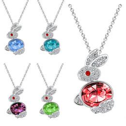 Wholesale Diamonds Bunny - lucky Obediently rabbit Austrian Diamond Rabbit Crystal Pendant South Korea fashion jewelry crystal rabbit necklace women bunny necklace
