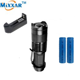 Wholesale Mini Led Flashlight Charger - CREE Q5 Mini 1000LM LED Flashlight Bike Light LED Bike Light Front Torch 3 Modes Zoomable Light Waterproof+2*Battery+1*Charger