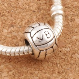 Wholesale Volleyball Ball Spacers Metal Big Hole Beads Antique Silver Fit European Charm Bracelets Jewelry DIY L1296 x11x8mm