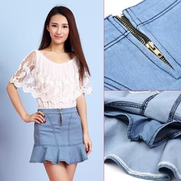 Wholesale Jeans Leaf - Jeans Skirt Spring And Summer New Women's Lotus Leaf Denim Skirt Fish Tail Cowboy Skirt Female Wholesale