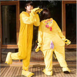 Wholesale Chicken Outfits Adults - Little Yellow Chicken Kigurumi Pajamas Animal Suits Cheap Cosplay Outfit Halloween Costume Adult Garment Cartoon Jumpsuits Unisex Sleepwear