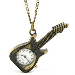 Wholesale Antique Ladies Pocket Watch Chain - Wholesale-Guitar Shape Pocket Watches For Women Men's Retro Bronze Fob Quartz Watch Mens Ladies Pendant Chain Watch Male Hours Montre #JO