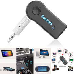 Micrófono receptor online-Universal 3.5 mm Bluetooth Car Kit A2DP Adaptador inalámbrico de audio AUX Adaptador de receptor de manos libres con micrófono Para teléfono MP3 Paquete minorista DHL