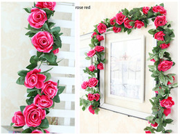 Wholesale Flower Rose Bedding - 10pcs MOQ 225cm 88inch 6color option Simulation Artificial wedding rose flower Cane Vine for wedding and home bed or rail hotel decoration