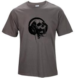 Wholesale Dj Panel - 2017 summer Men's Print DJ Skull Fitness T-shirt 100% Cotton Short sleeve O-Neck Fashion T shirt men