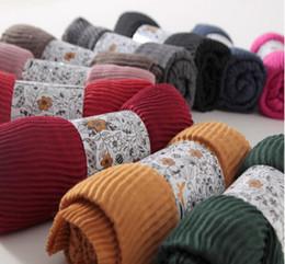 Wholesale Muslim Long Scarf - Wholesale-Ripples Plain Cotton Women Scarves Shawls Muslim Hijabs Long Scarf Women Luxury YZ01