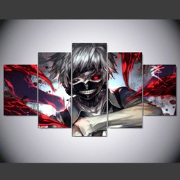 Wholesale Kids Canvas Art - Anime Ken Kaneki Tokyo Ghoul Canvas Painting 5 Panel Wall Art Print Pictures For Kids room Wall Poster home decor Unframed