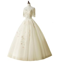 Wholesale Short Sleeved Lace Wedding Gown - SSYFashion New Luxury Wedding Dresses The Bride Sweet Lace Flower Boat Neck Short Sleeved A-line Floor-length Long Wedding Gown