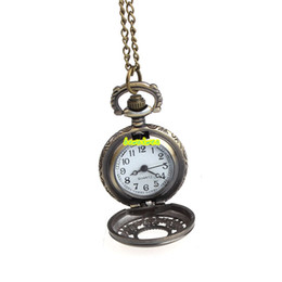 Wholesale vintage quartz necklace - Wholesale-bowaiwen #0034 Retro Leaves Vintage Style Pocket Chain Necklace Watch Christmas Gift