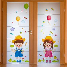 Wholesale Girl Kids Clothes Shops - Baby Kids Wall Stickers Home Decor Boys &Girls Cartoon Wall Decals Children's Clothing Shop Decals Glass Bedroom Wall Decoration