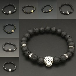 Wholesale Silver Jewelry Skulls - Silver Gold Lion Skull leopard Charm Bracelet Natural Stone Lava Rock Prayer Buddha Bracelet Bangle Cuffs for Women Jewelry Drop Shipping