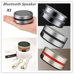 Wholesale Compact Stereos - HOT! X1 Mini Wireless Bluetooth Speaker Metal Compact Bluetooth V3.0 Stereo Speakers Speakerphone for iPhone Samsung   PC With Retail Box