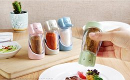 Wholesale Plastic Spice Jars - Creative Elephant jar cruet 4 color Straw + PP material seasoning bottle condiment bottle creative kitchen tool