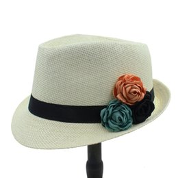 Wholesale Ladies Straw Fedora - Wholesale- Fashion Toquilla Straw Women Boater Beach Sun hat For Elegant Lady Summer Chapeu Feminino Panama Fedora Hat With Camellia Flower