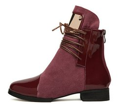 Wholesale Womens High Heel Motorcycle Boots - Wholesale-Motorcycle Boots Womens Genuine Leather Shoes Fashion Pointed Toe Flat Heel Martin Ankle Boots Autumn Women Shoes Size 35-43