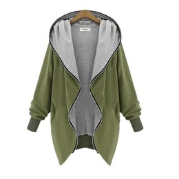 Wholesale Wide Fat Woman - Wholesale- Europe and America Fashion Casual Hooded Large Size Women Autumn Increase The Fat Sister Was Thin Jackets Women outerwear coats