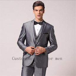 Wholesale complete costume - Wholesale- High Quality 2016 Handsome Mens Complete Designer Tuxedo Bridegroom Fashion Costume Homme (Jacket+Pants+Vent+Tie)Men Suits