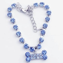 Wholesale large blue crystal pendant - Pet Necklace Collar Dog Jewelry Fashion Crystal Diamante Bone Rhinestone Pendant for Puppy 3 Sizes